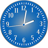 Vector wall blue detailed clock isolated on white — Stock Vector