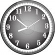 Silver vector wall clock with black face — Stock vektor