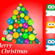 Christmas greeting card with cute owls — Stock Vector