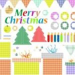 Big set of Christmas stuff. decoration elements — Stock Vector