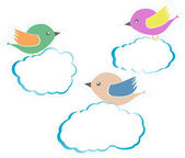 Birds On Clouds isolated on white — Stock Vector