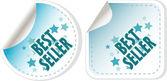 Best seller blue stickers set. vector label — Stock Vector