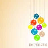 Boules de Noël joyeux suspendus avec des rubans. Vector — Vecteur