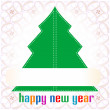 Colorful illustration with decorated green Christmas tree — Stock Vector
