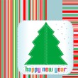Christmas tree with Happy New Year greetings - Stock Vector