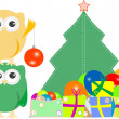 Owl family with christmas tree, balls, balloons — Векторная иллюстрация