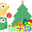 Owl family with christmas tree, balls, balloons — Stock Vector