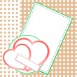 Valentin`s Day card with two love hearts — Vettoriale Stock
