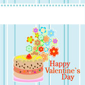 Valentine`s party flowers and delicious sweet cakes — Stock Vector