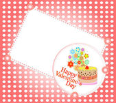 Celebration card. Valentine`s cake with space for text. vector — Stockvektor