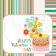 Delicious Love Cupcake with flowers and valentines greetings — 图库矢量图片
