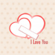 Stock Vector: Two heart I Love you composition. Saint Valentines day