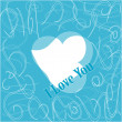 I love you. Romantic valentines blue pattern — ストックベクタ