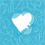Ti amo. San Valentino romantico blu modello — Vettoriale Stock
