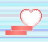 Векторный фон изготовлен из красного сердца и пустой наклейки — Cтоковый вектор