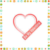 Hearts and flowers frame. wedding or valentine`s theme — 图库矢量图片