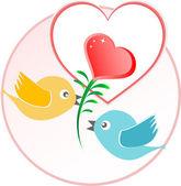 ハート風船ベージュのベクトルの背景の上で赤い愛の鳥 — ストックベクタ