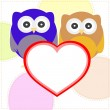 Background with couple of owls with valentines love heart — Imagen vectorial