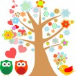 Owls in love and bird with cute floral tree — Vettoriali Stock