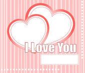 Formas de san valentín corazones dos en fondo rosado — Vector de stock