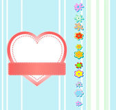 Valentines Day grunge background Heart and flowers — Vecteur