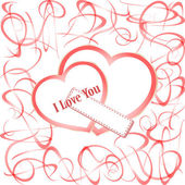Grunge hearts with text I love you. valentines day Vector — Stock Vector