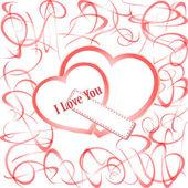 Coeurs de grunge avec texte je t'aime. valentin vecteur — Vecteur