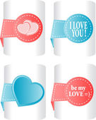 Valentines and wedding stickers or tags set — Stock Vector