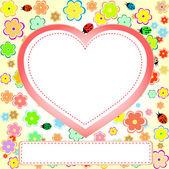χαριτωμένο θραύσματα που με λουλούδι, καρδιά, πασχαλίτσα και κενό χώρο — Διανυσματικό Αρχείο
