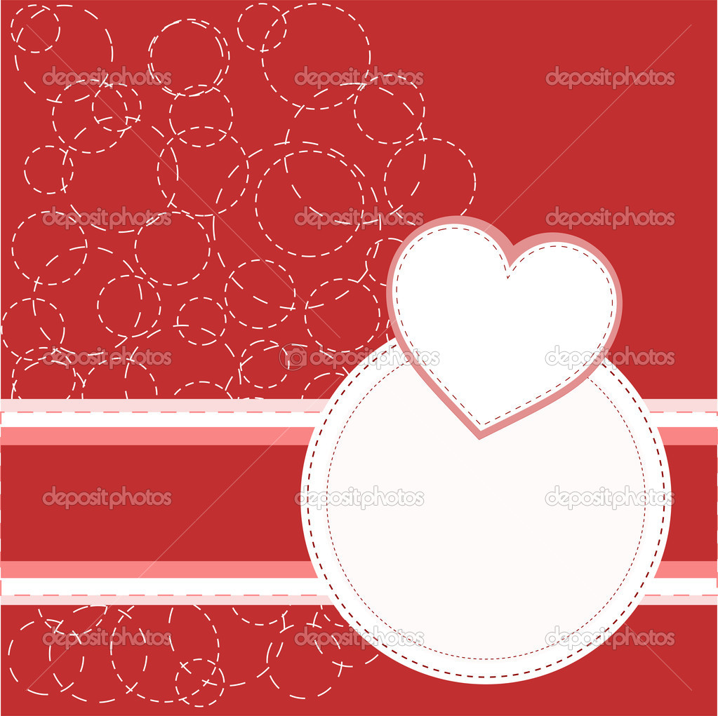 Valentine's red greeting invitation card with love heart. vector  Stock Vector #8515671