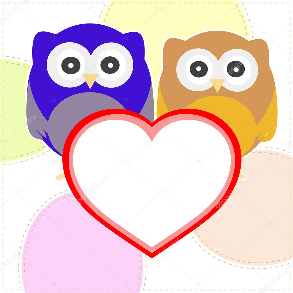 Vector background with couple of owls with valentines love heart  Stock Vector #8515895