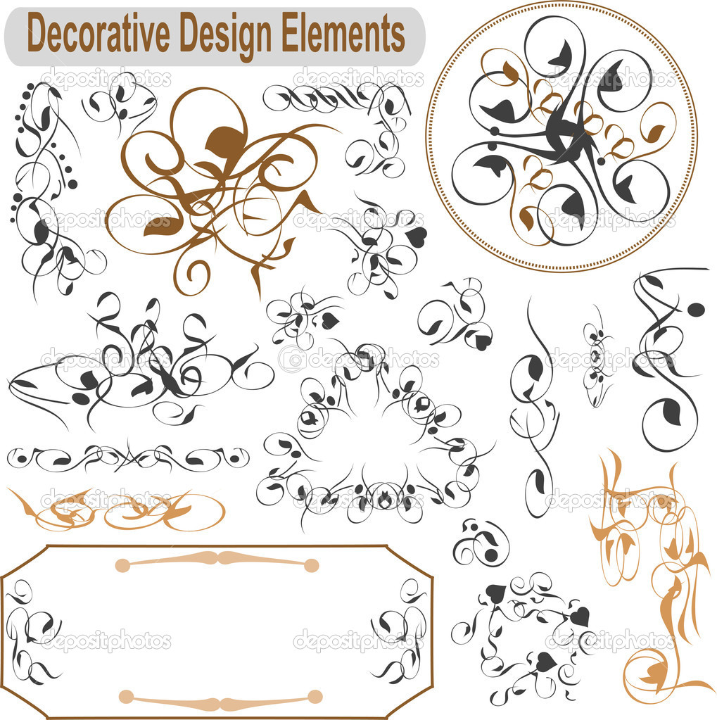Vector set calligraphic design elements and page decoration — Stock Vector #8518213