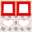 Two blank instant photo frames with heart shapes on wood — Stock Vector