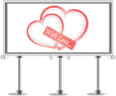 Outdoor billboard with heart. Love Vector theme — Vettoriale Stock
