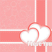 Valentine's day vector background with two hearts — Vetor de Stock