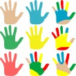 Royalty-Free Stock Vector Image: Vector illustration hands multicolored set isolated on white