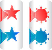 Stylish colorful set of labels in the form of stars badges and stickers — Stock Vector