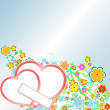 图库矢量图片: Roses and Hearts background. Valentine or Wedding Card