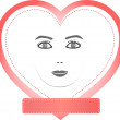 Female face in a heart with empty pink copy space - Stock Vector