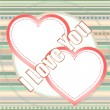 Valentines day vector background with two hearts, vector - Stock Vector