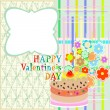 Saint valentine`s cake and flowers. party or valentines occasion — Stock Vector