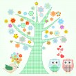 Royalty-Free Stock Vector Image: Owl in love and bird with flowers textile stickers Vector