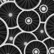 Bicycle background from many white wheels vector - Stockvectorbeeld