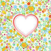 Валентина сердце с цветочный фон вектор — Cтоковый вектор