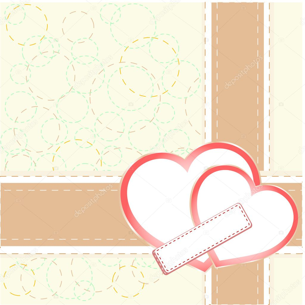 Vintage gift card with heart shaped space for text. vector — Stock Vector #8983421
