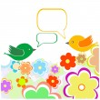 Greeting card with two birds under flowers. vector — Stock Vector