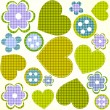 Scrapbook design elements set: frames, heart, buttons, flowers — Vettoriale Stock