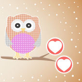 Cute Owl On The Branch with love heart — Stock Vector