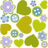 Scrapbook design elements set: frames, heart, buttons, flowers — Stock Vector