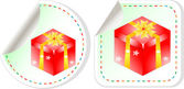 Gift boxes stickers set over white background — Stockvector